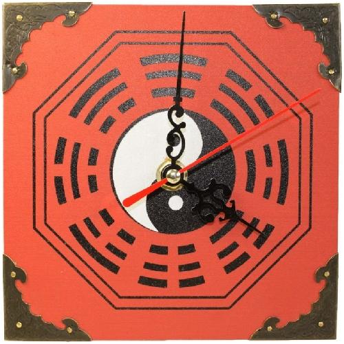 Feng shui clock with a decorative bagua symbol,