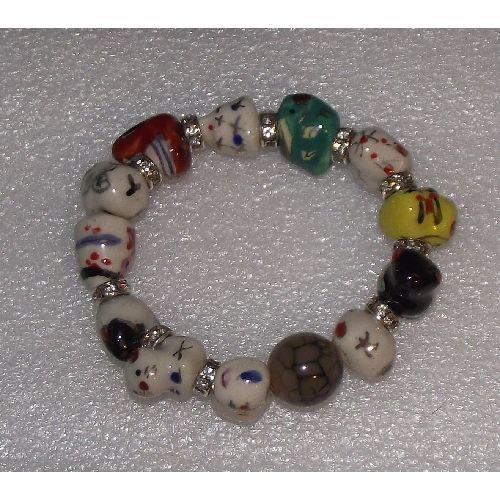 Chinese zodiac bracelets with painted ceramic charms,
