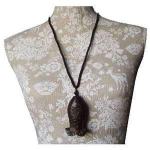 Chinese fashion necklace with a carved wooden carp,