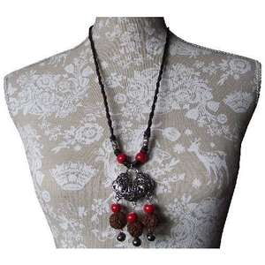 Chinese style necklace with silver wealth symbols,