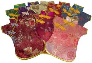 Chinese wine bottle jackets with oriental patterns,