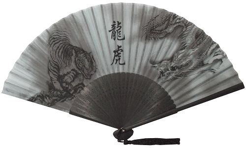 Chinese silk fans decorated with dragons and tigers,