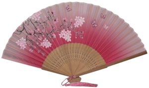 Pink hand held Chinese fans with plum blossom patterns,