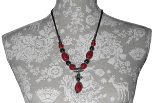 Ceramic bead necklace with Tibetan style silver ornaments and spacers,