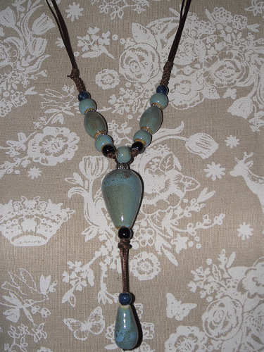 Hand painted ceramic bead Chinese style necklaces,