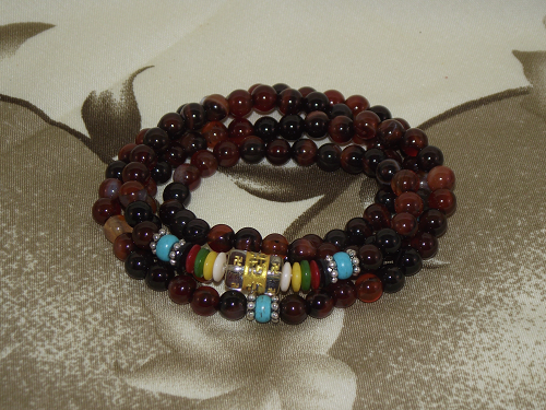 108 bead Mala with dark carnelian crystal gemstones,