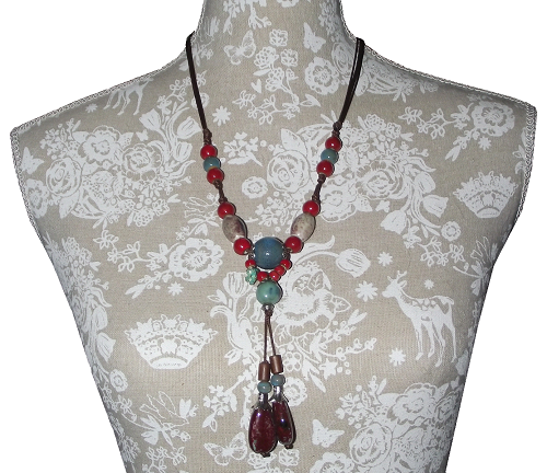 Oriental style necklace with red and turquoise ceramic beads,