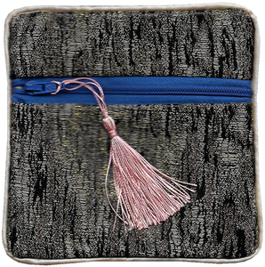 Chinese silk purse with a pink knotted coin tassel,