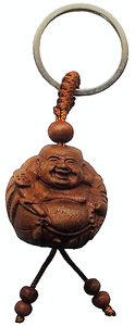 Wooden Happy Buddha key rings made from natural peach fruitwood,