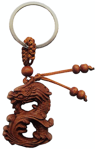 Chinese Dragon keyrings made from natural fruit wood,