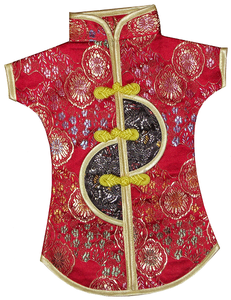 Red and gold wine bottle jackets adorned with Chinese dragons,