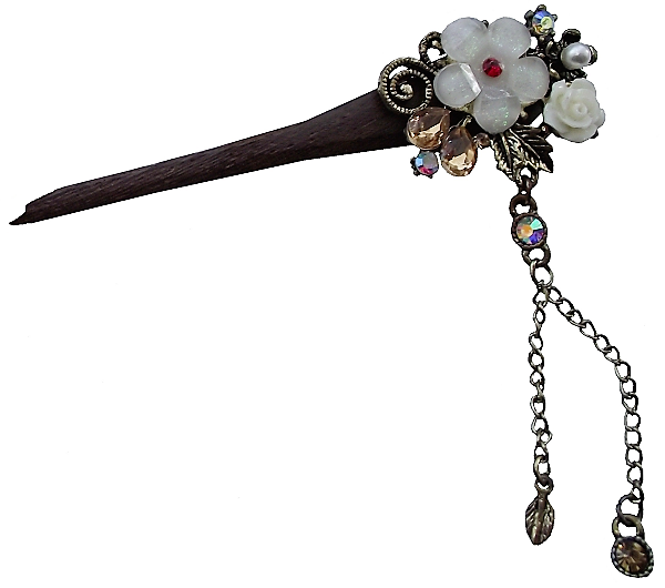 Wooden hair sticks with a decorative oriental tassel,