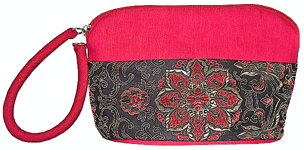 Red Chinese toiletry bags with black silk brocade floral patterns,