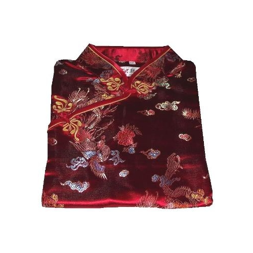 Ladies red Chinese dresses with dragon and phoenix patterns,