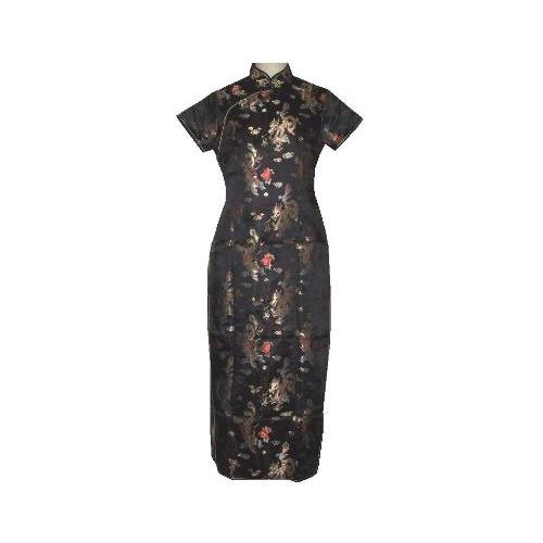 Long black Chinese dress with dragon and phoenix patterns,