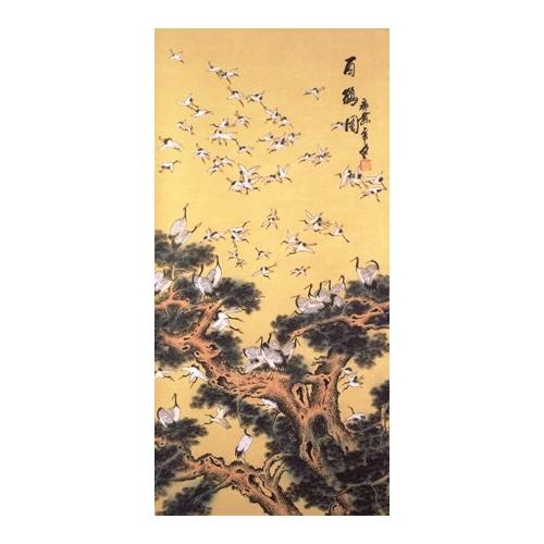 Large wall scrolls with 100 Chinese Cranes,