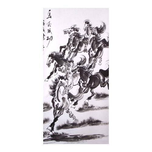Eight horse symbolic Chinese wall scrolls,