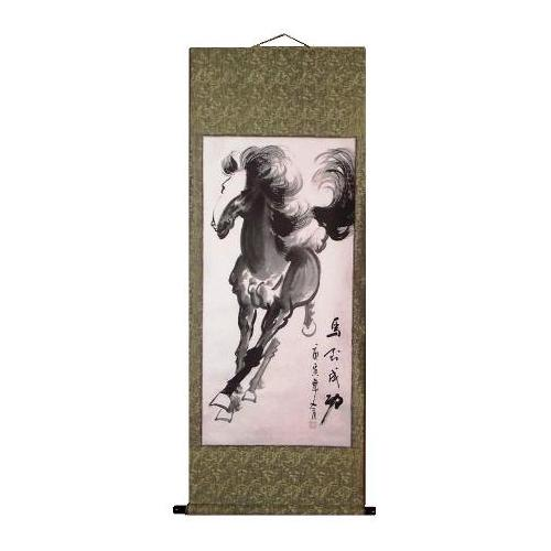 Chinese wall scroll with a galloping wild horse,