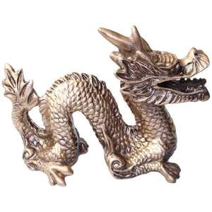 Chinese snake dragon made from attractive gold resin,