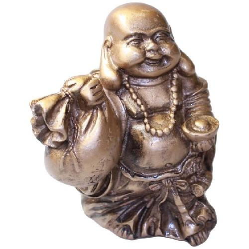 Happy Buddha statue carrying an ingot and wealth sack,