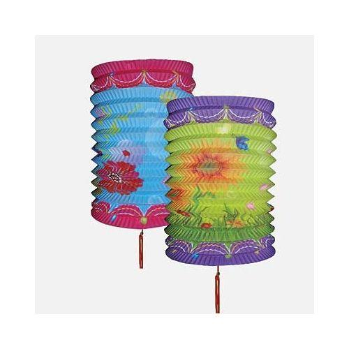 Chinese paper lanterns with colourful floral patterns,