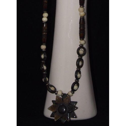 Ox bone necklace with Chinese floral patterns,