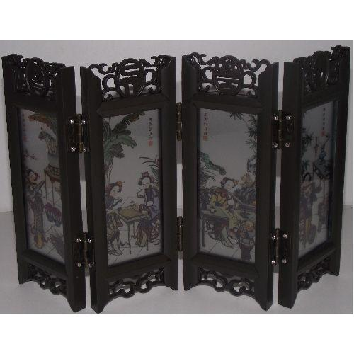 Ornamental Chinese screens with painted glass panels,