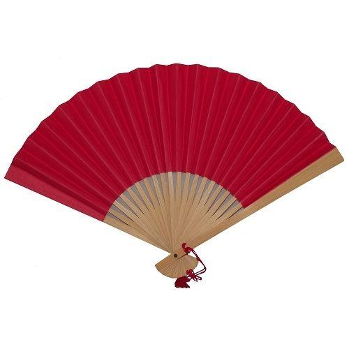 Red Chinese paper fans with bamboo fretwork,