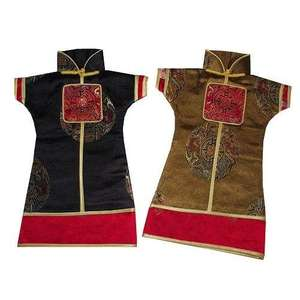 Wine bottle jackets with Chinese and oriental symbols,