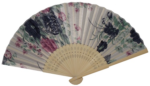 Silky hand held Chinese fans with oriental bamboo fretwork,