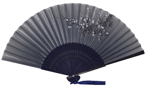 chinese silk hand fans with a decorative dark blue bamboo fretwork