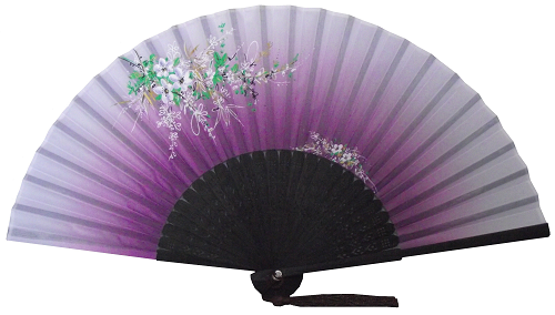 Purple hand held Chinese silk fan with black fretwork,