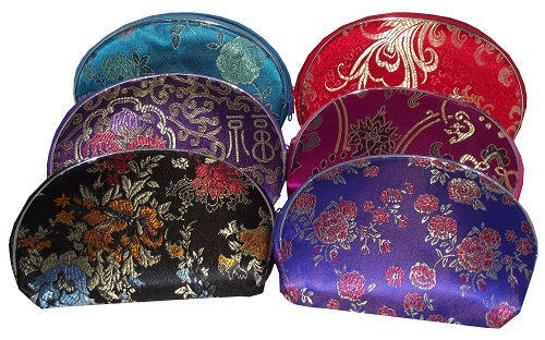 Chinese style make up cases with silk brocade patterns,