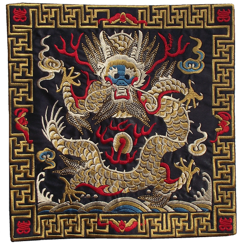 Black Chinese table mats with embroidered gold dragons,