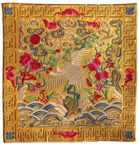 Embroidered Chinese place mats with Cranes and flowers,