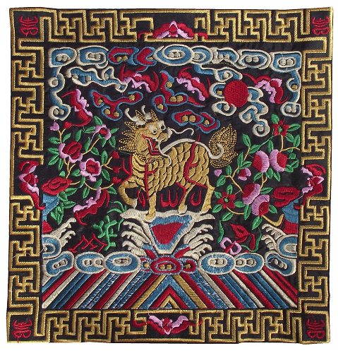 Black Chinese table mats embroidered with mythical creatures,