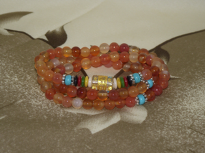 108 bead mala with natural carnelian crystal gemstones,