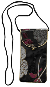 Silk Chinese phone pouch with a black knotted tassel,