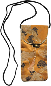 Chinese style phone pouch adorned with cranes and pine trees,