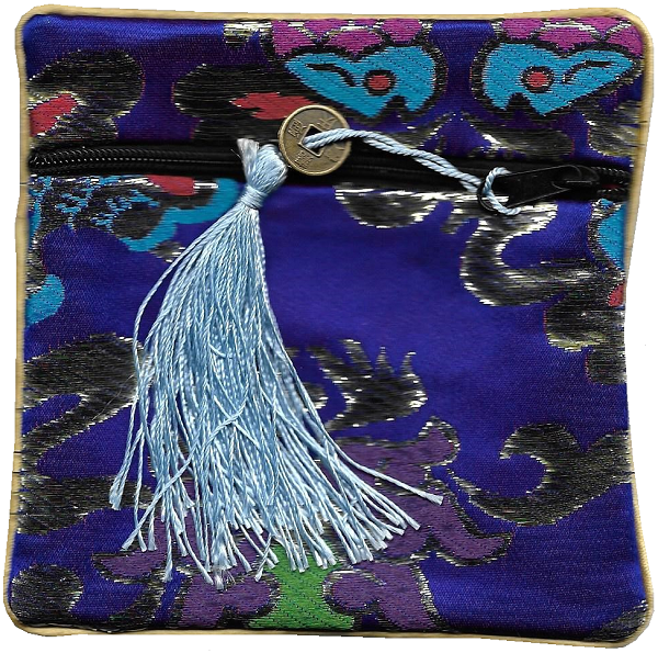 Dark blue Chinese purse with a knotted coin tassel,
