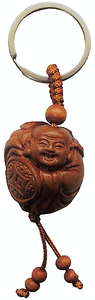 Lucky Buddha keyrings made from natural peach fruit wood,
