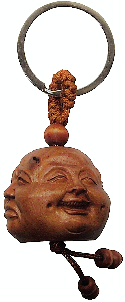 Wooden Buddha key ring with the four faces of Buddha,