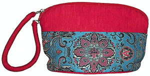 Red Chinese cosmetic bags with turquoise floral patterns,
