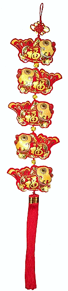 Large Chinese new year knots with red and gold wealth symbols,