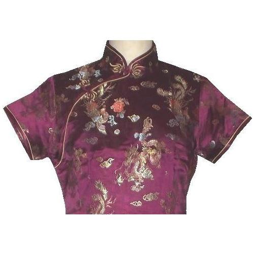 Knee length burgundy Chinese dress with dragon and phoenix patterns,