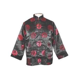Black Chinese jackets with silk brocade oriental patterns,