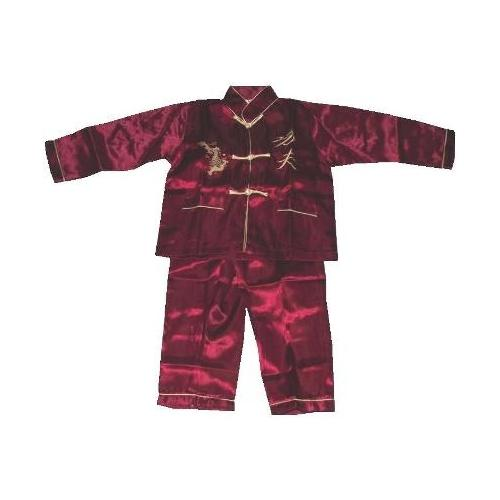 Childrens Chinese pyjama suit with gold dragons,