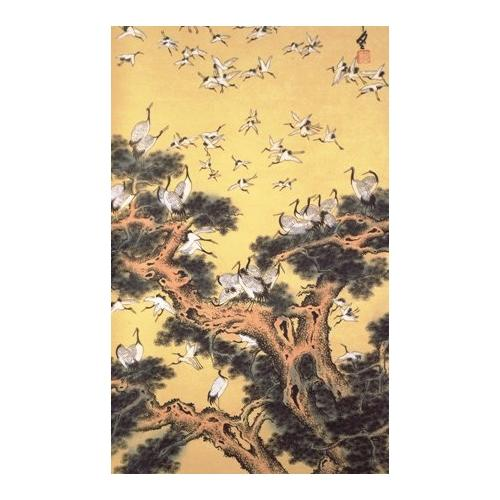 Chinese hanging wall scroll with the symbolic 100 Cranes,