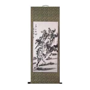 Chinese wall scroll with eight wild horses,