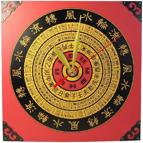 Large wooden wall clock with a feng shui compass,